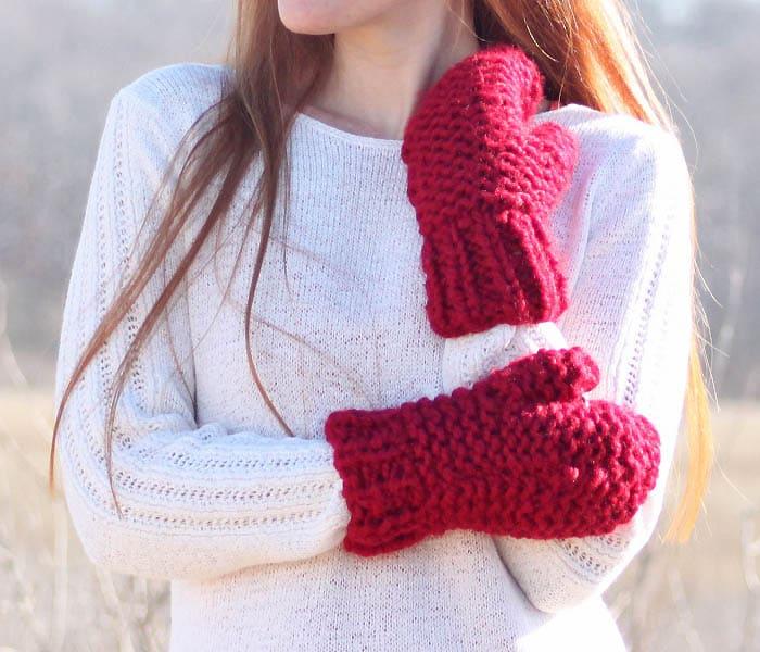 Flat Knit Chunky Mittens Knitting Pattern