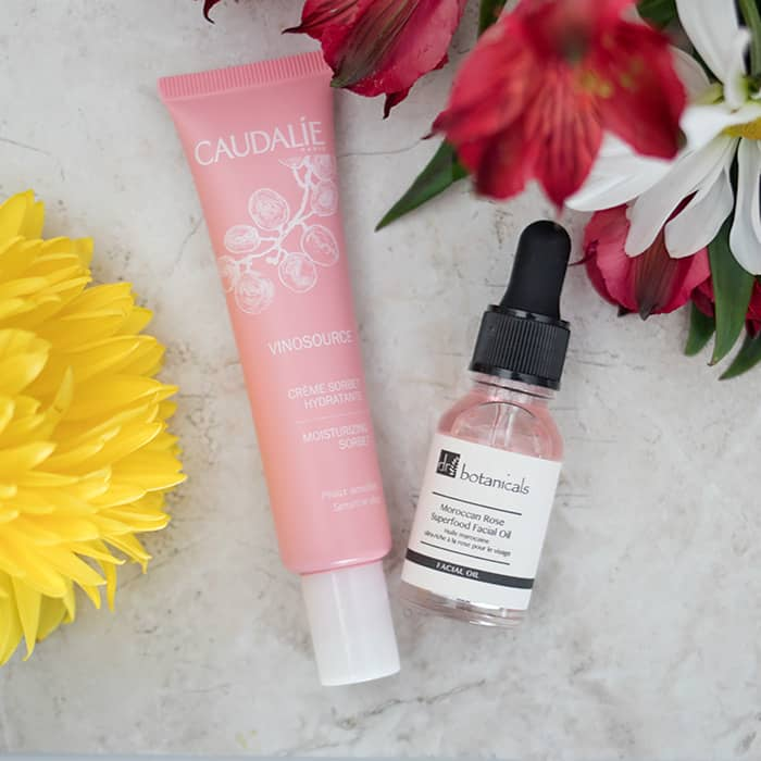 CAUDALÍE Vinosource Moisturizing Sorbet and Dr Botanicals Moroccan Rose Superfood Facial Oil