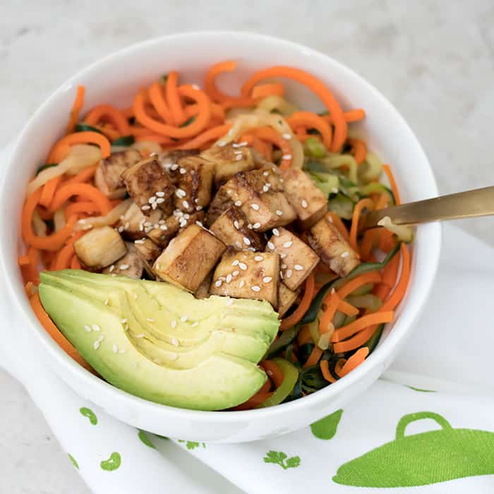Zoodle Salad with Sauté Tofu and Ginger Sesame Sauce