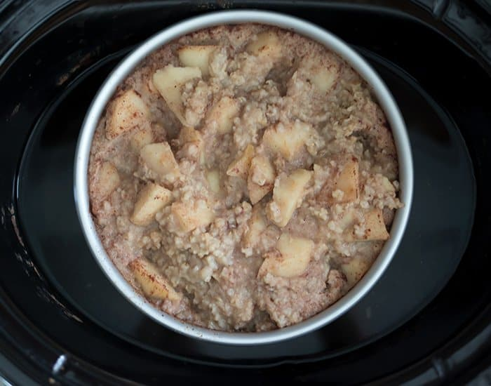 Vegan Slow Cooker Apple Pie Oatmeal plus a trick to prevent the sides from burning!