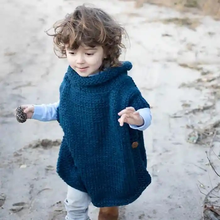 Easy Kids Poncho Knitting Pattern Gina Michele