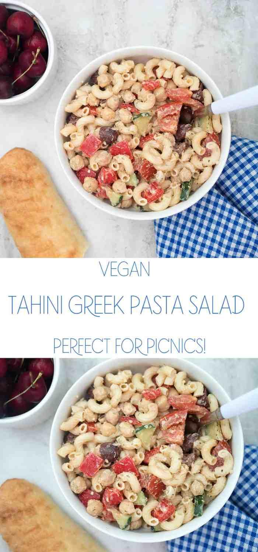 Vegan Tahini Greek Pasta Salad
