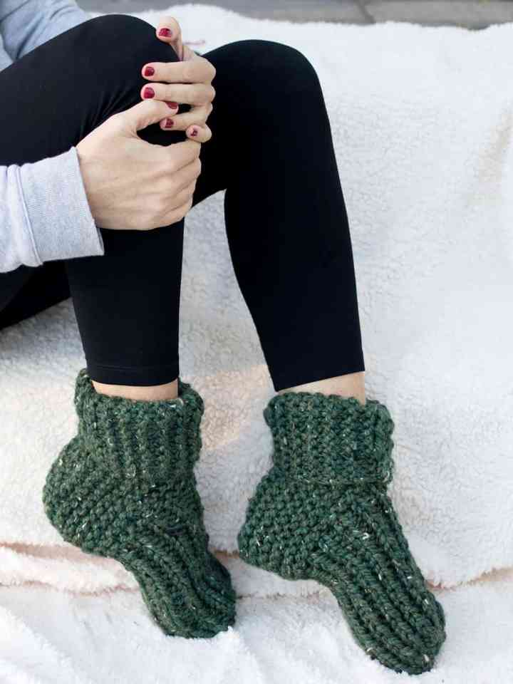 Flat Knit Slippers by Gina Michele