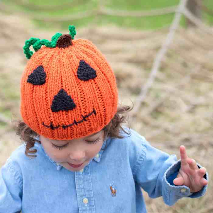 Jack-O-Lantern Hat Knitting Pattern