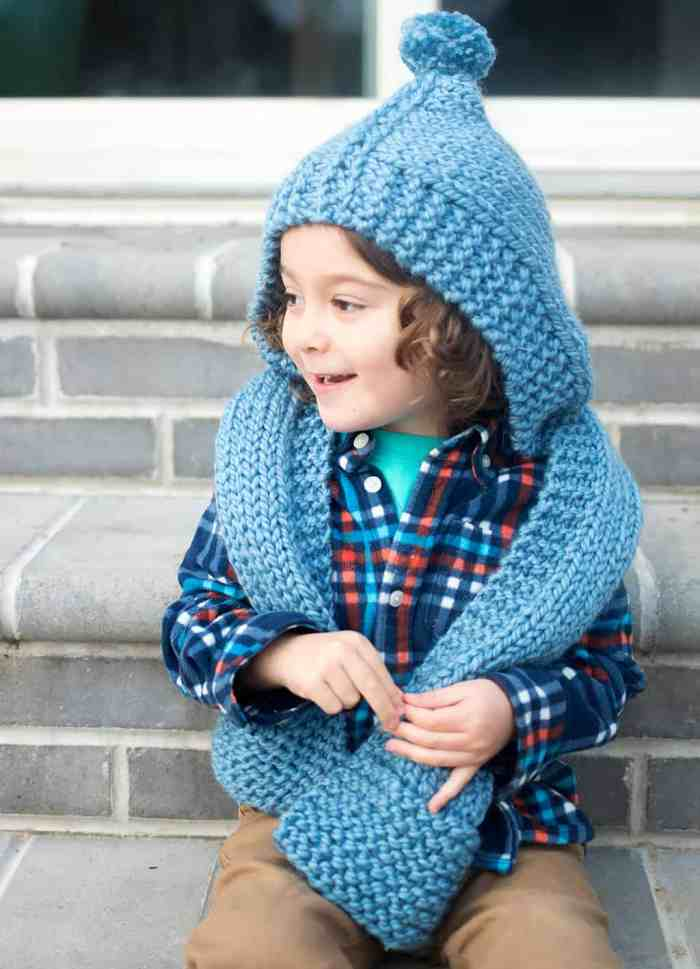 Kid's Hooded Scarf Knitting Pattern by Gina Michele