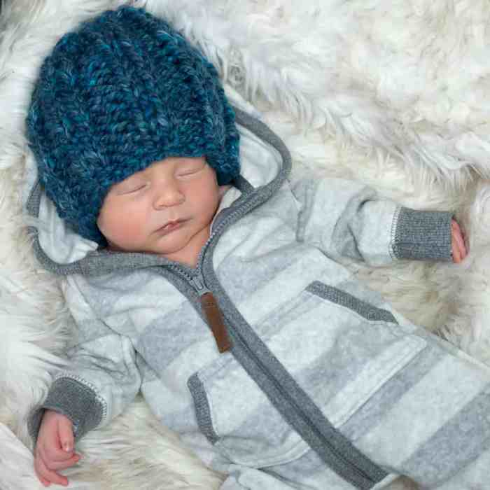 Flat Knit Newborn Hat by knitting blog Gina Michele