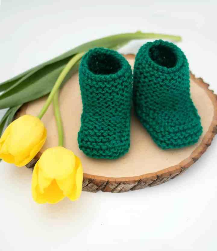 Garter Stitch Booties Knitting Pattern by Knitting Blogger Gina Michele