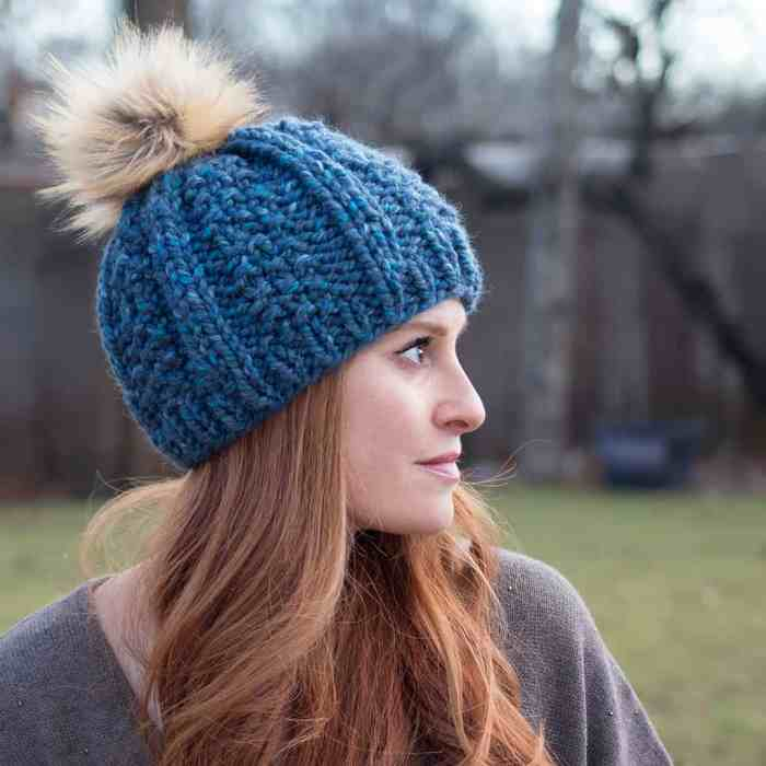 Wide Rib Hat Knitting Pattern