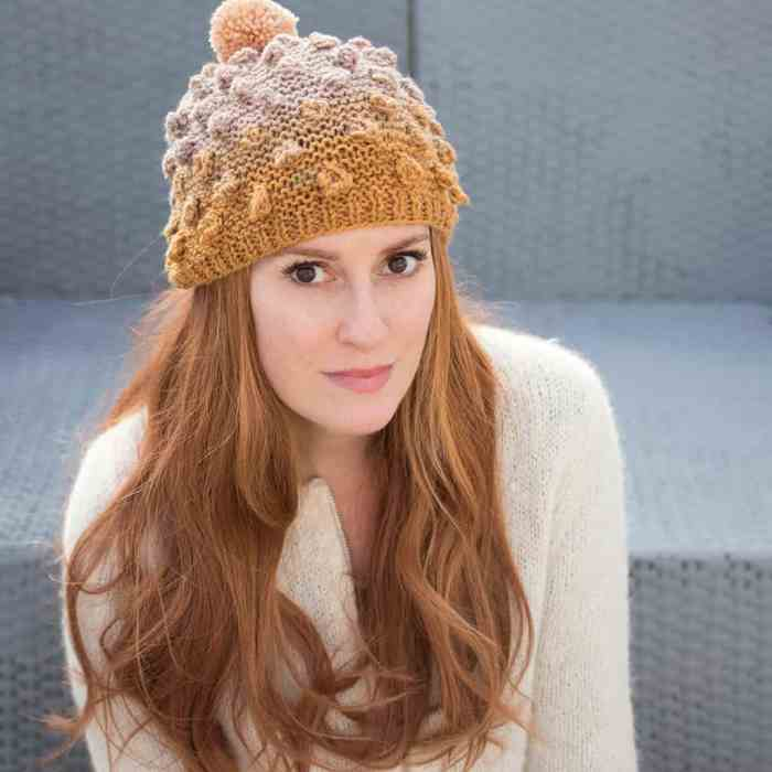Popcorn Knit Hat Pattern and Video Tutorial