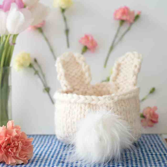 Easy Bunny Basket Knitting Pattern