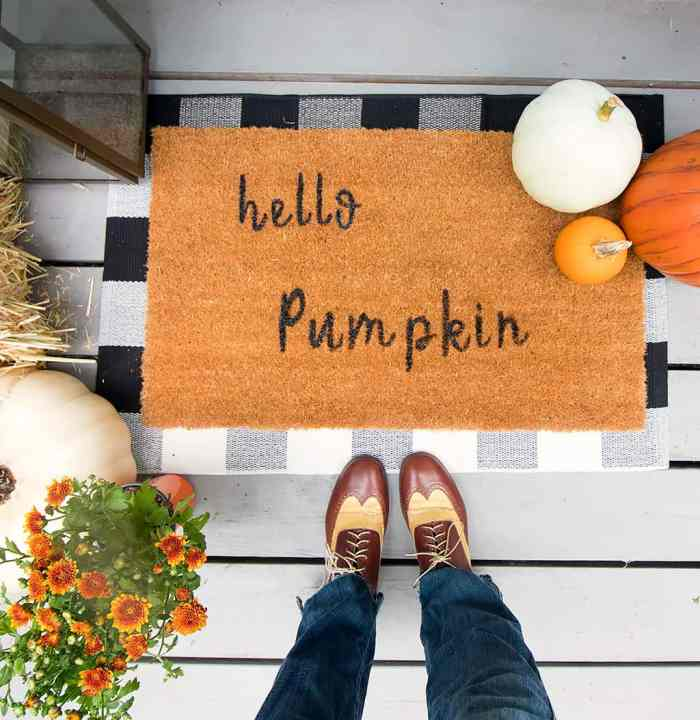 How to Make a Stenciled Doormat without a Cricut Machine