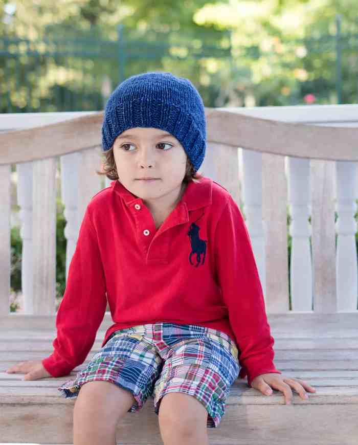 Free Kid's Basic Beanie Knitting Pattern by blogger Gina Michele
