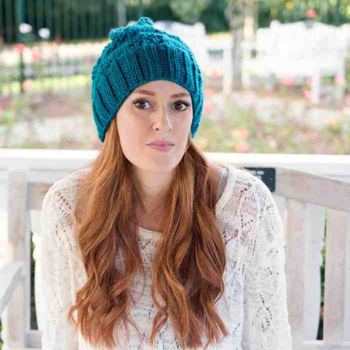 Textured Slouch Hat Knitting Pattern