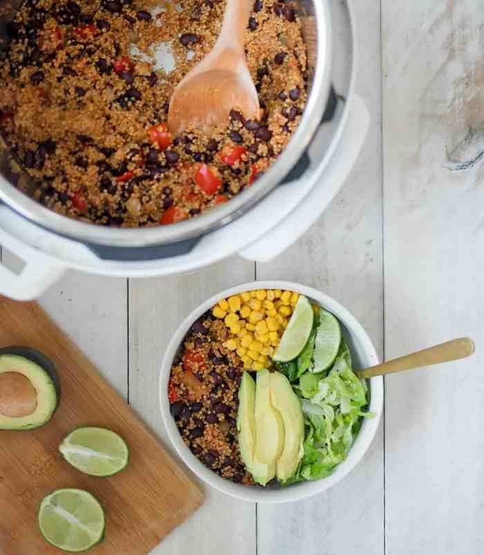 Easy Instant Pot Plant Based Quinoa Burrito Bowls