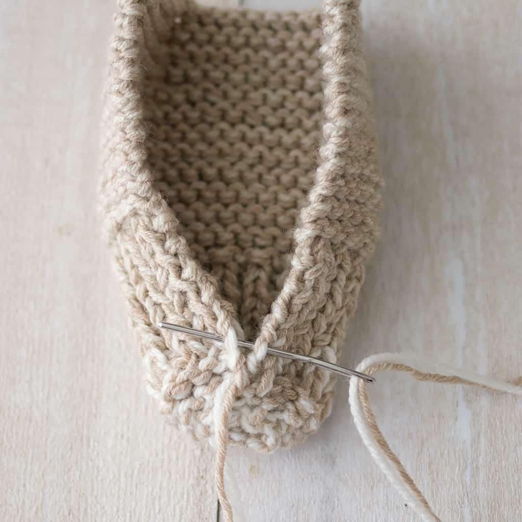 Easy-Kids-Bunny-Slippers-Knitting-Pattern - Gina Michele