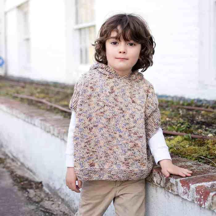Easy Kids Hooded Poncho Knitting Pattern