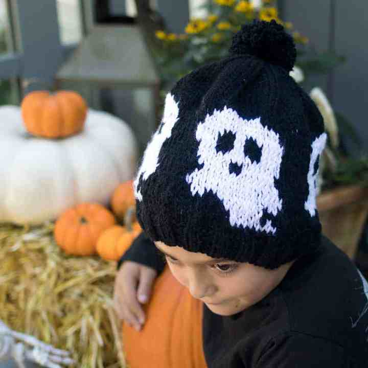Kids Ghost Hat Knitting Pattern