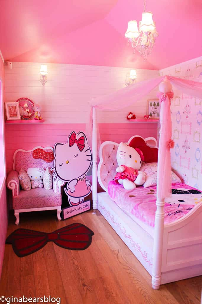 You will especially fall in love with all the details put into Hello  Kitty's bedroom. If she were real, she would want it to become exactly that.