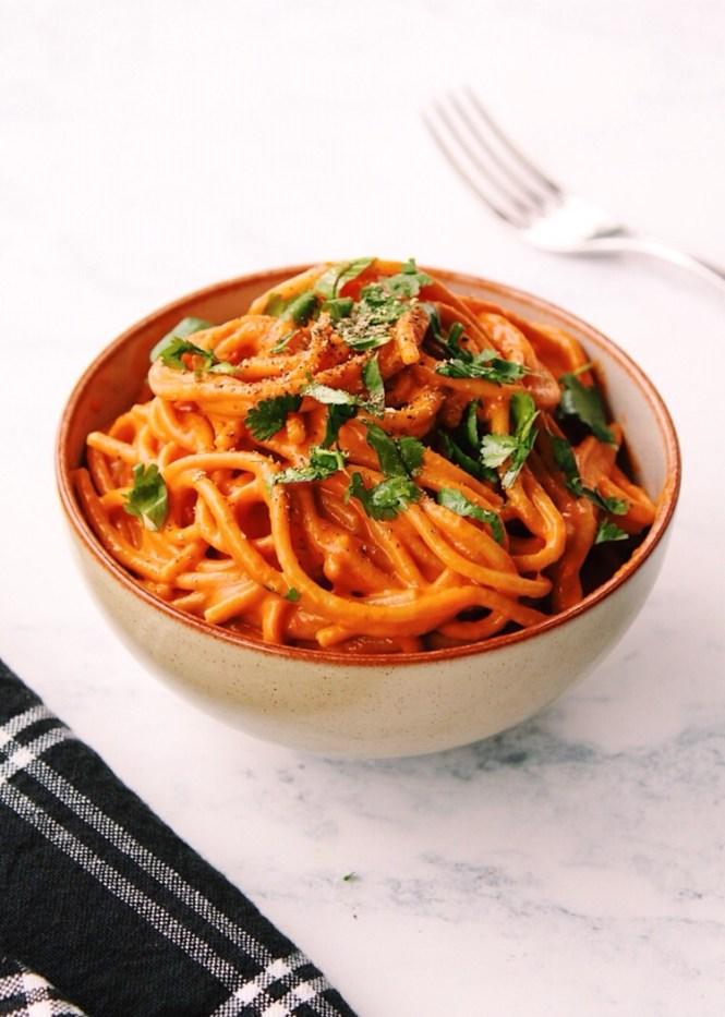 Roasted Red Pepper Pasta {vegan, gluten free}