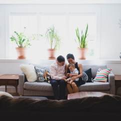 Wedding Sofa Cream Leather In Living Room Home Family Photo Session Jamaica Plain, Boston ...
