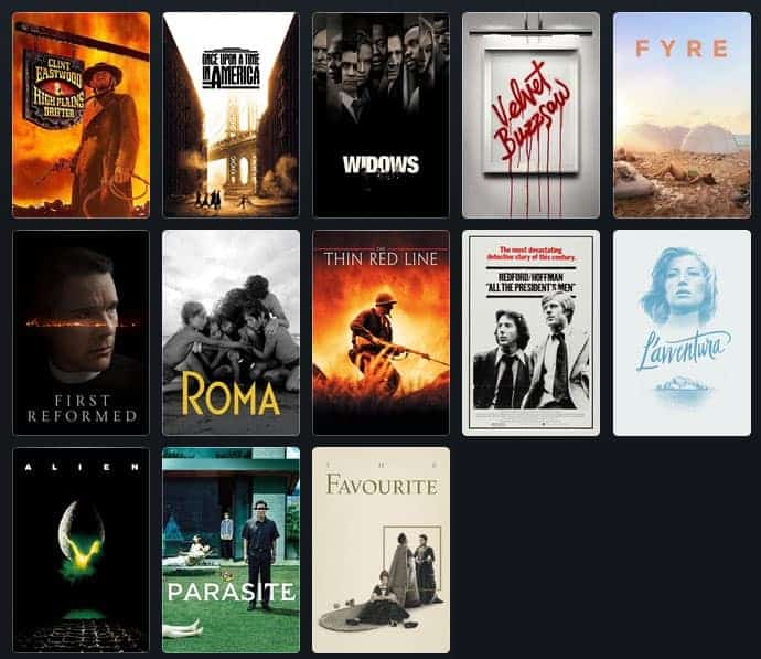 cover art for movies I watched in 2019: Highplains Drifter, Once Upon a Time in America, Widows, Velvet Buzzsaw, Fyre, First Reformed, Roma, Thin Red Line, All the President's Men, La'Aventura, Alien, Parasite, The Favourite