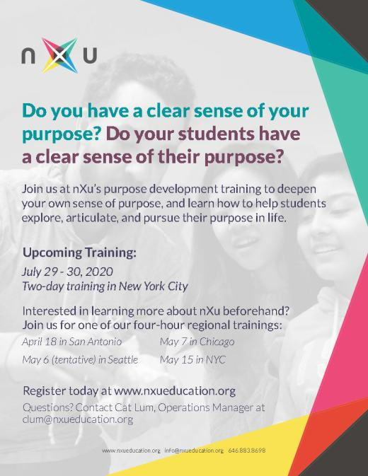 flyer advertising upcoming trainings for nXu