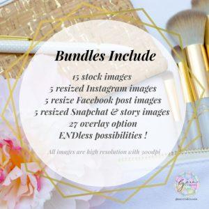 cosmetic makeup brushes gold eyelash curler bag mirror perfume stock photos