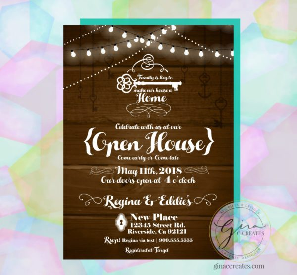 open house house warming party wood lights keys invitation