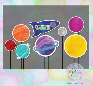 outer space watercolor printable planets out of this world cut outs props