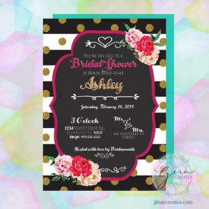 bold black and white stripe gold glitter flower bridal invitation