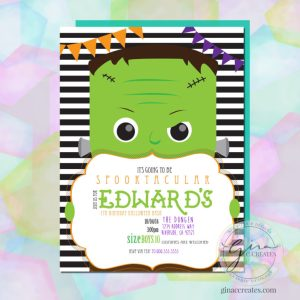 spooky boy Frankenstein Halloween party invitation