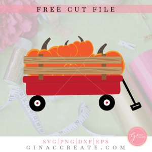 free red wagon with pumpkins svg