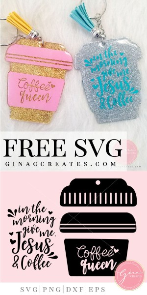 free svg coffee queen for zindee key chain