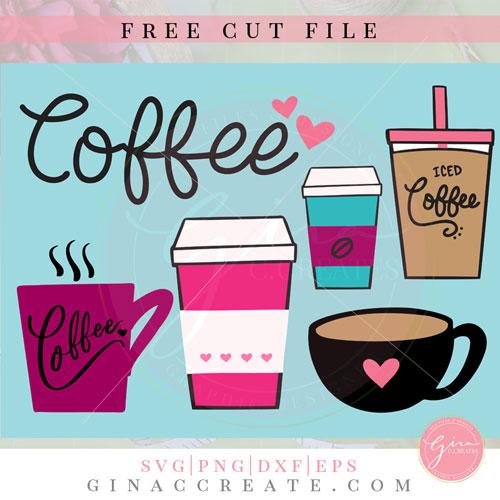 Download Free SVG Cut File | Coffee Cups Bundle - Gina C. Creates