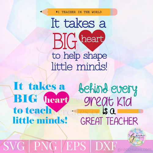 picture about It Takes a Big Heart to Shape Little Minds Printable titled It normally takes a Significant Center in direction of practice minor minds Free of charge SVG Offer