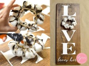 COTTON-BALL-WREATH-SIGN-IDEAS,-LOVE-LIVES-HERE