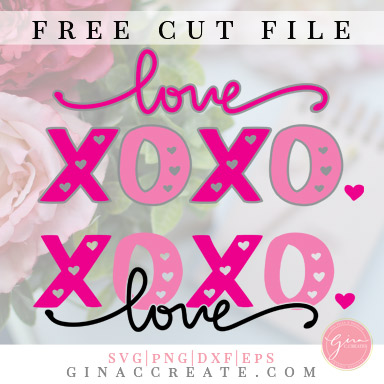 free svg cut file love, xoxo, hearts, valentine's day cricut crafts