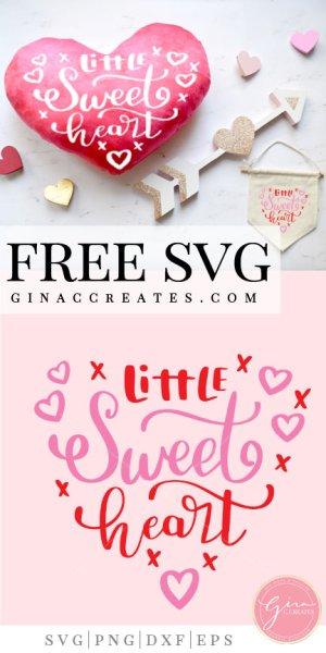 little sweet heart free svg cut file, valentine's day cricut crafts