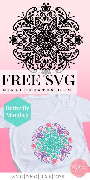 Download Butterfly Mandala | FREE SVG Cut File - Gina C. Creates