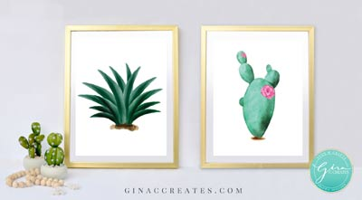 photo regarding Cactus Printable known as Cactus Wall Artwork Absolutely free Printable Gina C. Makes
