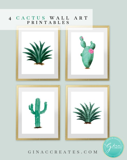 free wall art printable, cactus water color printable