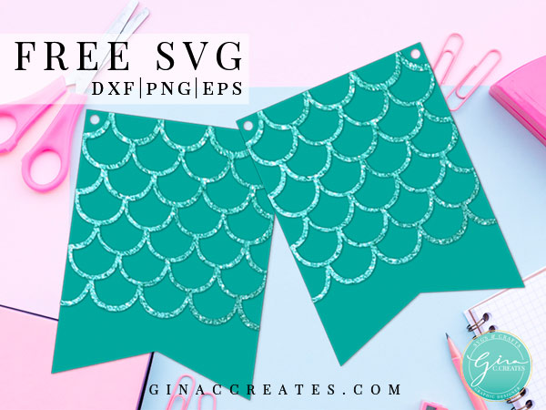 free svg mermaid party banner