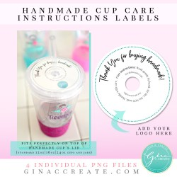 Cup Care Instruction Label | PNG Printable