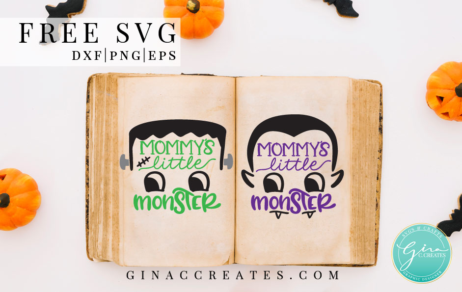 Frankenstein Mommy's little monster free svg cut file