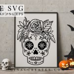 sugar skull free svg halloween craft file
