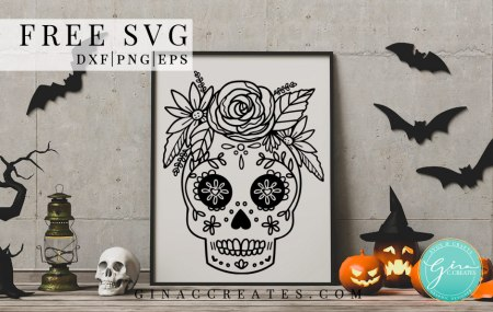 sugar skull free svg halloween craft file