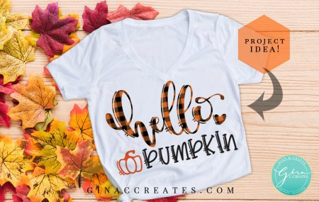 hello pumpkin free svg, fall orange buffalo plaid shirt