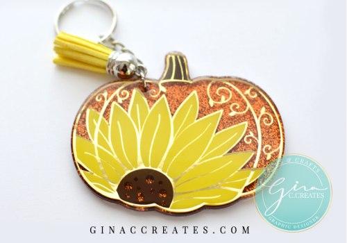 sunflower pumpkin key chain fall cricut crafts