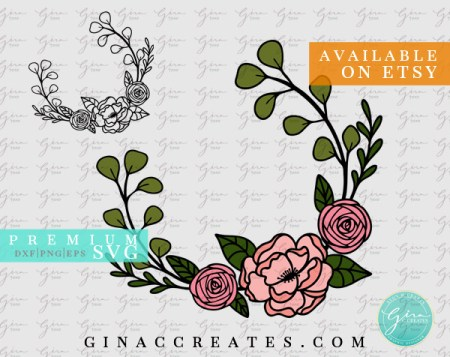 winter floral wreath free svg monogram