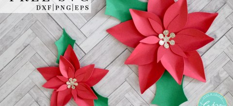 Mini Paper Christmas Poinsettia Free SVG